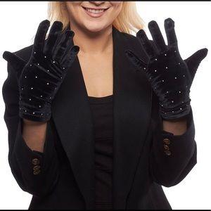 Rhinestone Velvet Gloves with Thinsulate Lining